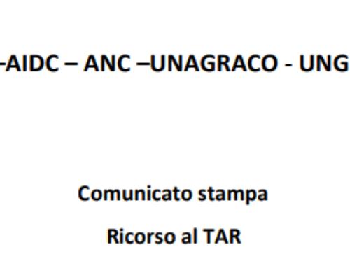Comunicato Stampa ADC –AIDC – ANC –UNAGRACO – UNGDCEC: Ricorso al TAR