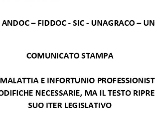 Comunicato Stampa DDL Malattia e Infortunio Professionisti